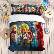 Cartoon iron Man bedding set Duvet Covers Pillowcases comforter sets Children cartoon Marvel hero Hulk Captain America