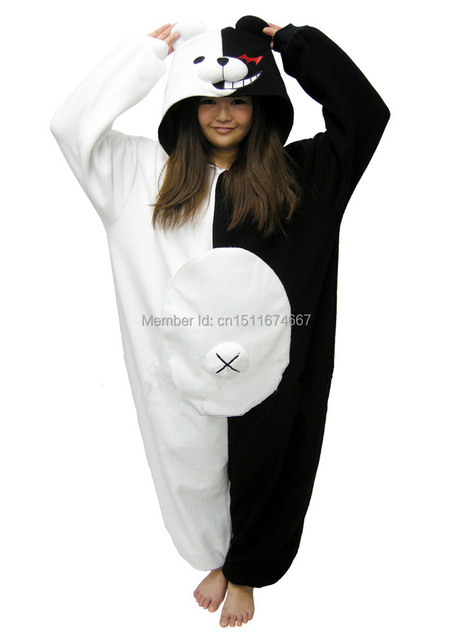 adb9a84486cd Fleece Kigurumi Onesies Pyjama Costume - Danganronpa Dangan Ronpa Monokuma    Monomi Halloween Christmas Carnival Party Clothing