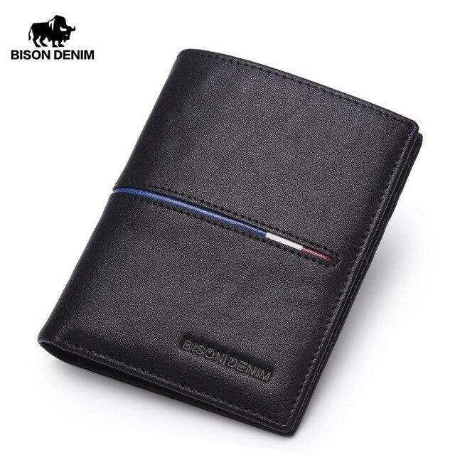 5e92ca55b5590 BISON DENIM Marka Hakiki Ilk Katman Deri küçük cüzdan Iş Klasik Çanta erkek  Cüzdan Kartları Tutucu