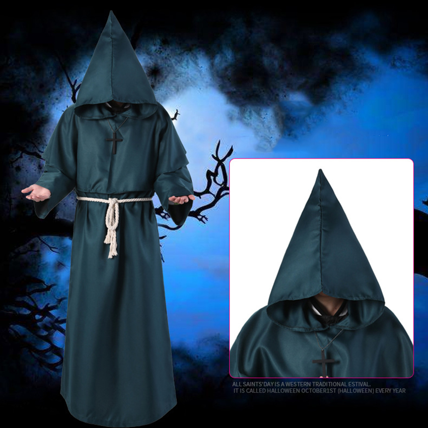 Horror Grim Reaper Costume Men Vintage Monk Cosplay Cloak Robe Scary Wizard Costume Halloween Costumes for women Dress 11