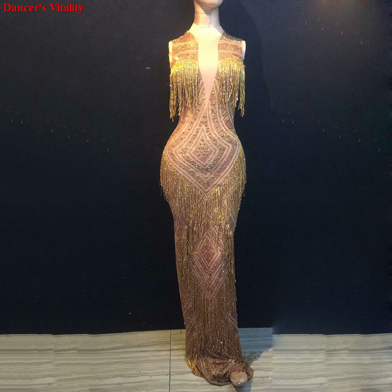 2019 New Rhinestone tassel Dress Women s Birthday Party Singer Celebrate Fringes Dress Nightclub Women Long