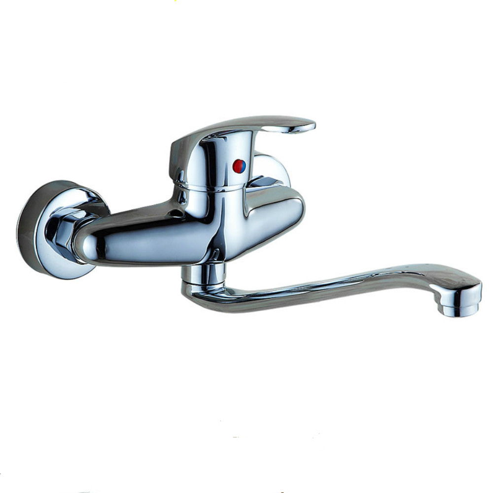 Hot and cold water faucet for outdoor sink - The Copper Into The Wall Type Of Hot And Cold Water Tap The Kitchen Faucet Washing Pool Dish Basin Sink Tap Single Can Rotate