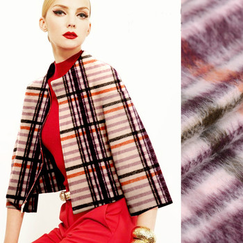 Plaid long wool super soft wool fabric autumn and winter clothing fabrics high - quality fabric wholesale wool cloth