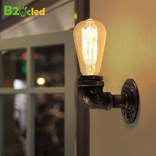 Steam punk Loft Industrial iron rust Water pipe retro wall lamps Vintage E27 LED sconce wall lights for living room bedroom bar цена