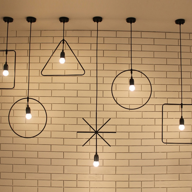Modern Loft Industrial Ceiling Lamp Geometric Character Restaurant Bar  Light Fixture Irregular Shape Coffee Shop Ceiling