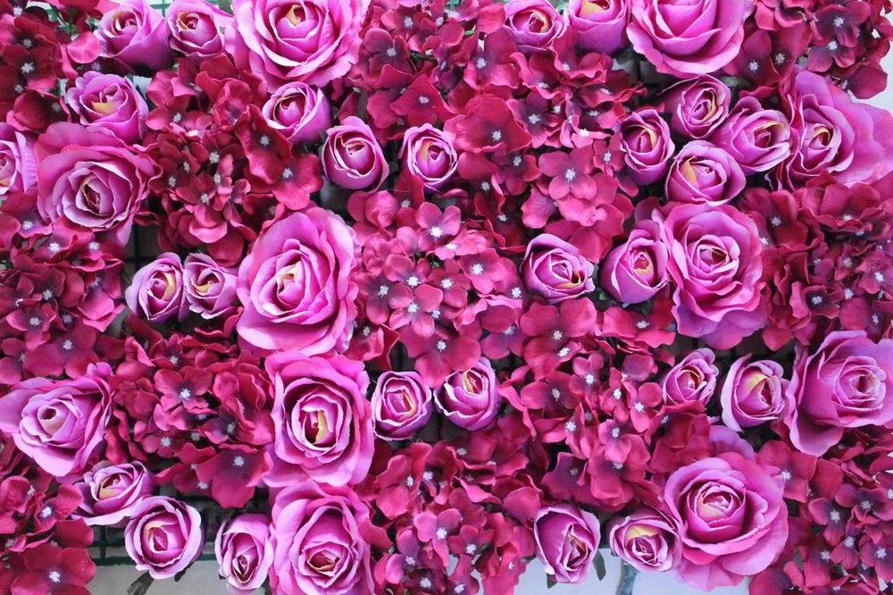 SPR - 매화 / 핫 핑크 - 10pcs / lot Artificialsilk 장미 꽃 벽 결혼식 배경 잔디 / 기둥 도로 리드 시장 장식
