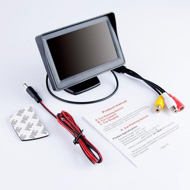 """Monitor de coche hipprcron Pantalla de 4,3 """"para cámara de visión trasera reversa pantalla LCD TFT HD Color Digital 4,3 pulgadas PAL/NTSC"""