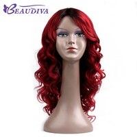 BEAUDIVA предварительно Цветной T1B/Red Ombre Цвет Волнистые Длинные человеческих волос парики 18 объемная волна человеческих волос парики для черны