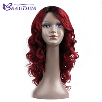 Beaudiva事前に着色t1b/赤オンブルカラー波状長い人間の髪かつら18