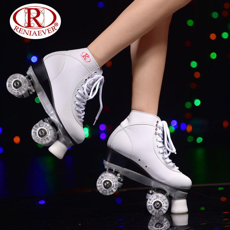 RENIAEVER Roller Skates Double Line Skates White Women Female Lady Adult With White LED 4 Wheels Two Line Skating Shoes Patines reniaever roller skates double line skates white women female lady adult with white pu 4 wheels two line skating shoes patines