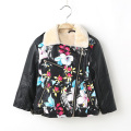 New Arrival Children Coats PU Leather Floral Print Kids Jacket For Girls Autumn Winter Fleece Warm Boys Outerwear Jackets DQ076