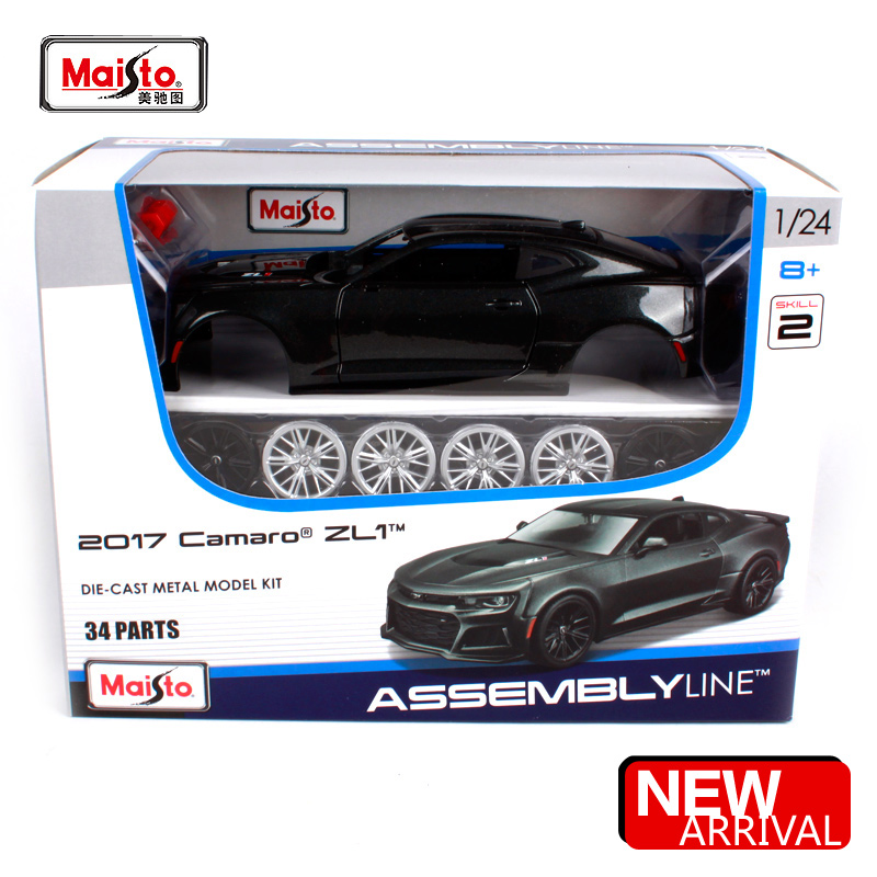 Maisto 1:24 2017 Chevrolet Camaro ZL1 Assembly Line DIY Diecast Model Car Toy New In Box Free Shipping 39512 maisto 1 24 2008 dodge challenger srt8 assembly diy diecast model car toy new in box free shipping 39280