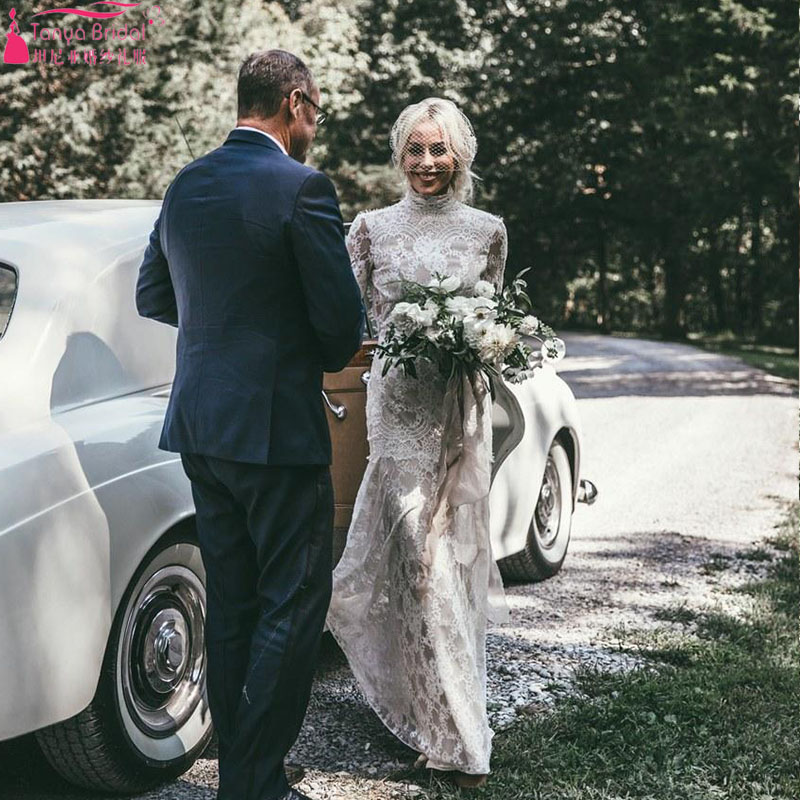 ファッション社外結婚式ドレスハイネック拡張スリーブフルオープンバックでアメージング春夏ビーチレースのウェディングドレス ZW087  グループ上の ウェディング & イベント からの ウェディングドレス の中 3