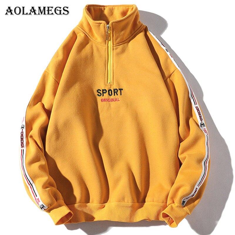 Aolamegs Male Sweatshirt Letter Half Zipper Sweatshirts Couple Pullover Fashion Long Sleeve High Street Streetwear Casual Autumn