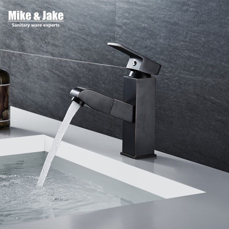 Pull out black basin sink tap bathroom faucet pull down sprayer basin tap crane shower head chrome pull down basin mixer bathroom basin faucet thermostatic bathroom crane water tap mixer with hand shower