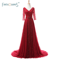 Elegant Red Real Photo Heavy Beading Half Sleeves Evening Dresses Formal Celebrity Gowns abendkleider robe de soiree ASAE45