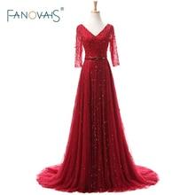 Elegant Red Real Photo Heavy Beading Half Sleeves Evening Dresses Formal Celebrity Gowns abendkleider robe de soiree ASAE45