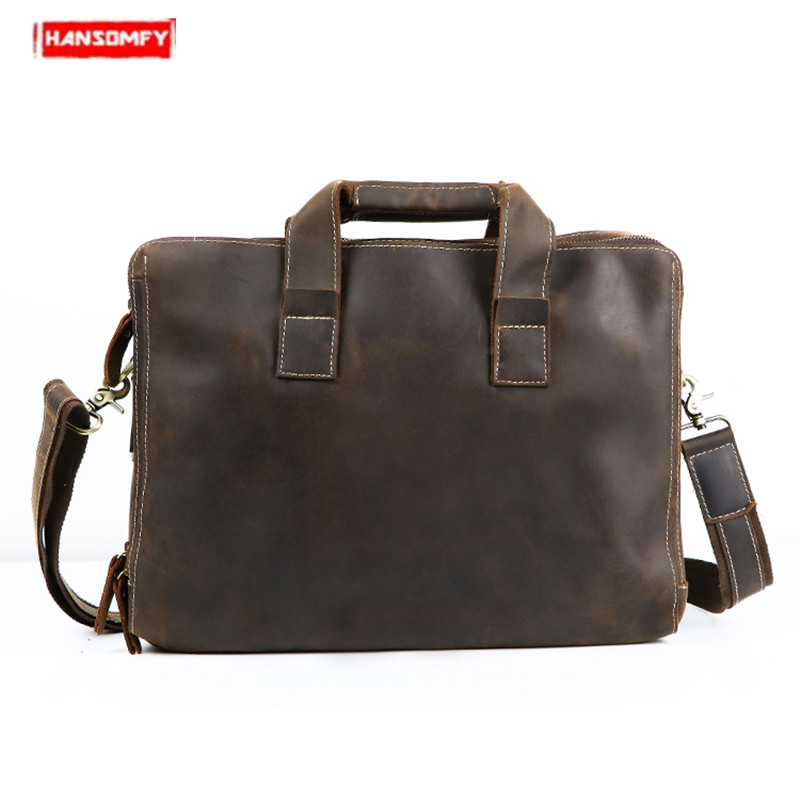 Retro Men's Crazy Horse Leather Briefcase Tote Genuine Leather Laptop Handbag Business Men Shoulder Bag Cowhide Office Briefcase