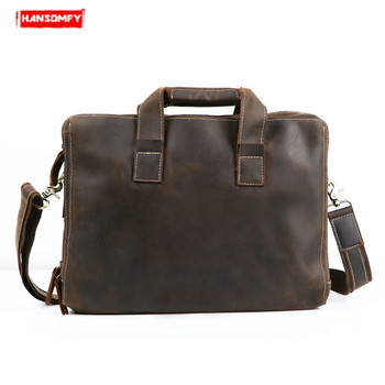 Retro Men's Crazy Horse Leather Briefcase Tote Genuine Leather laptop handbag business Men Shoulder Bag Cowhide office briefcase