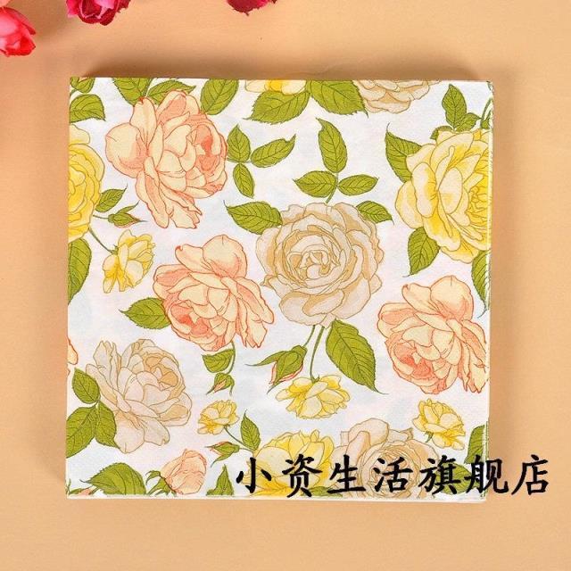 food grade flower paper wedding napkin rose festive party tissue napkins decoupage decoration paper - Decorative Paper Napkins