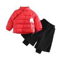Boy Winter Clothes Set Embroidered Cotton Clothing Retro Loose Trousers 2Pcs Sets Chinese Style Fashion Warm