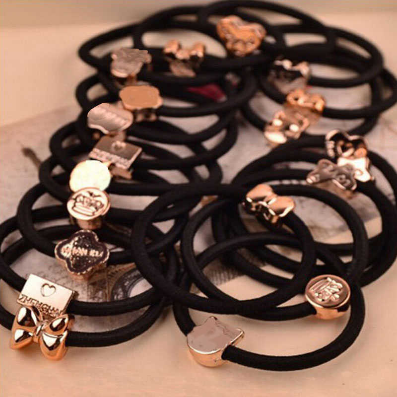 10 Pcs New Korean Fashion Women Hair Accessories Cute Black Elastic Hair Bands Girl Hairband Hair Rope Gum Rubber Band