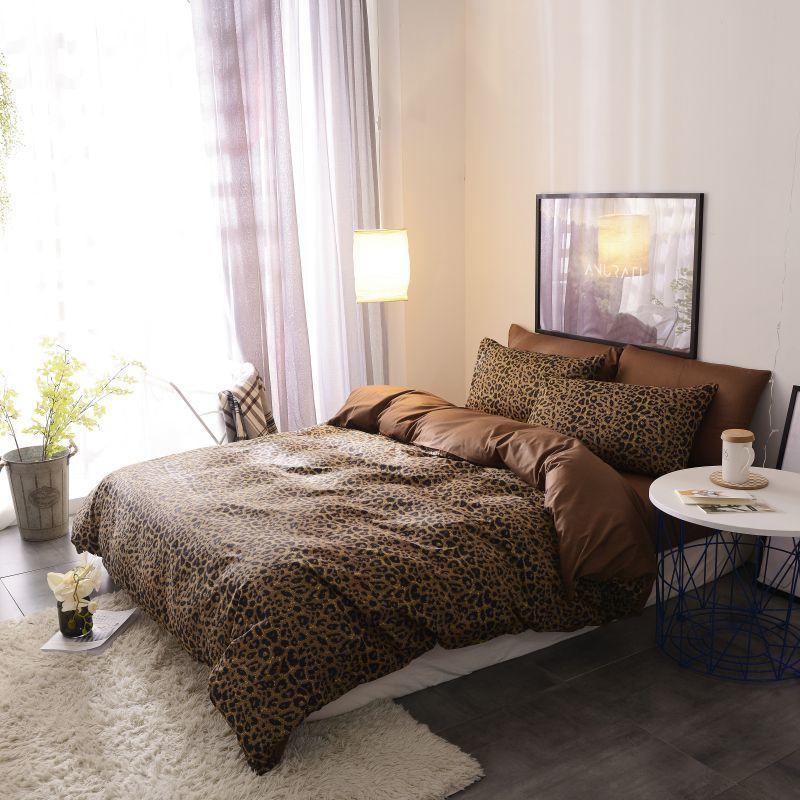 Image 2 - Brown leopard 100%Cotton Twin Bedding Set Queen King size Bed set  Duvet Cover Bed sheet Fitted sheet ropa de cama parure de litBedding  Sets