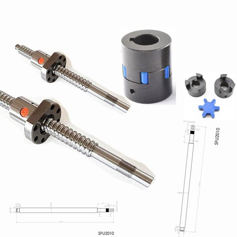 customized SFU2010 401mm SFE2020 535mm single nut end machined keyway couplingL070 12 17 for cnc machined