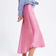 5589c9e1f3c23d Mujer de seda Rosa dobladillo Irregular faldas elegantes faldas de una  línea de cintura alta Mujer Falda larga falda de verano d.