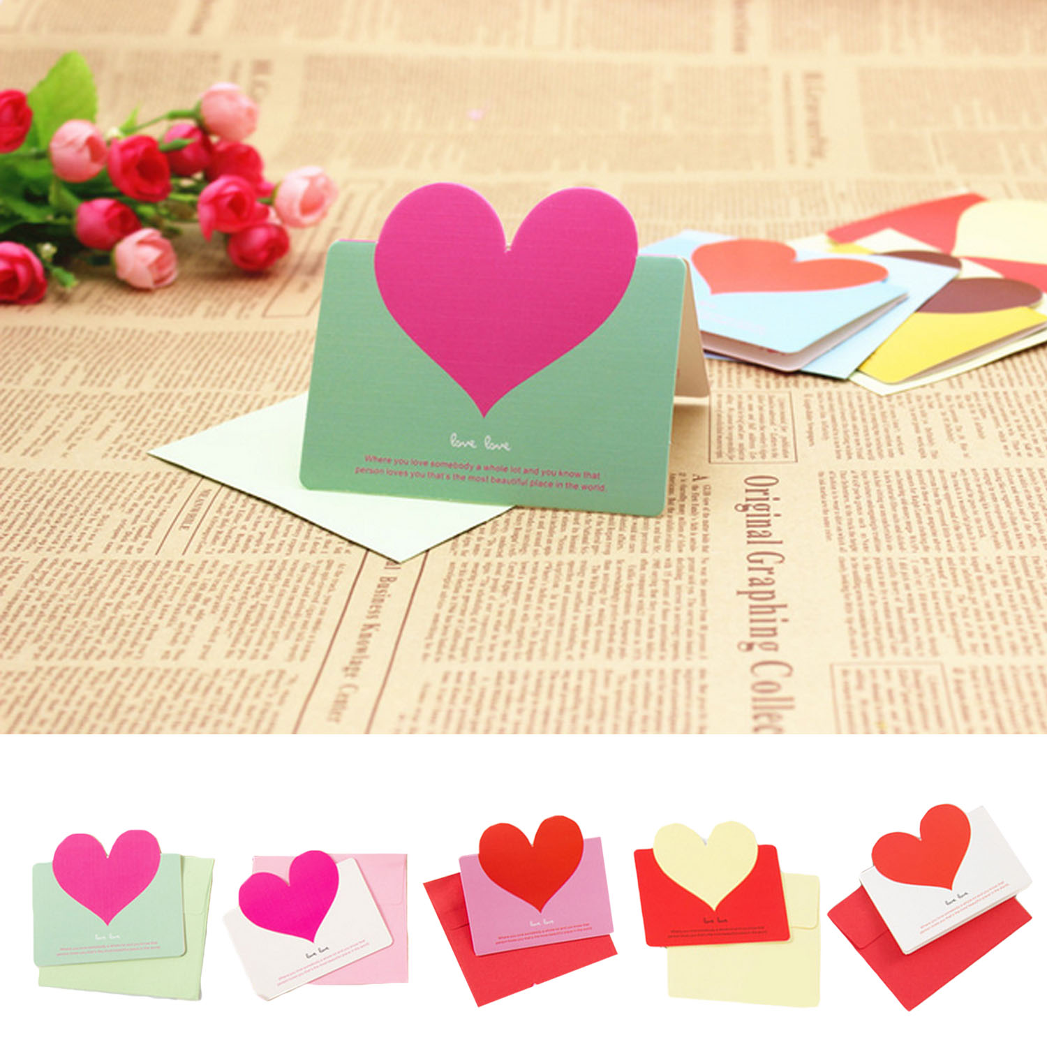 TAOS 50PCS Assorted Colors Love Heart Greeting Cards Holiday Blessing Card with Envelops for Christmas Birthday Thanksgiving Day 1 set of hollow valentine s day greeting card kraft paper card holiday cards birthday cards blessing