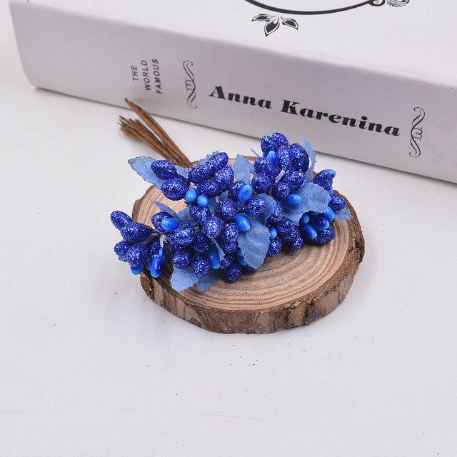 10pcs DIY Scrapbooking Decorative Wreath Fake Flowers Bouquet Artificial Bud Stamen Berry Bacca Flower For Wedding Decoration 2