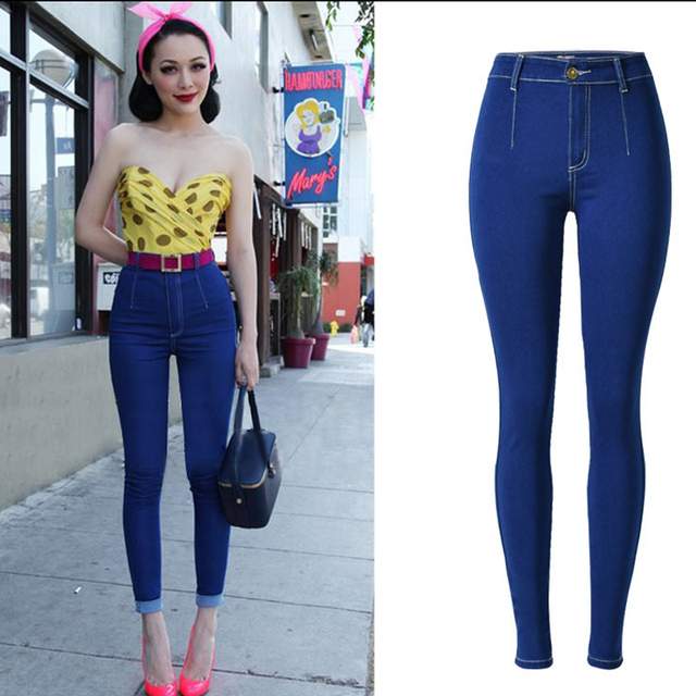 43b1b633b139 Olrain HOT Sexy Women Denim Skinny Pants High Waist Stretch Jeans Slim  Pencil Trousers