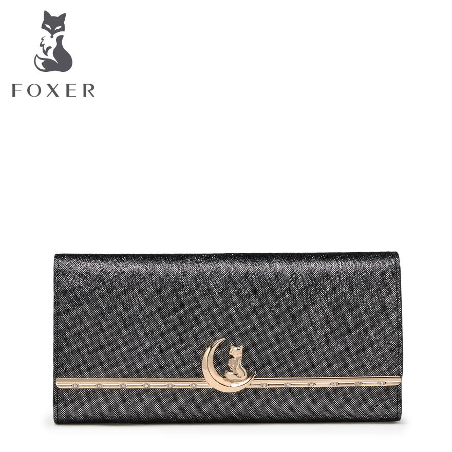 FOXER 2017 New women leather bag brands fashion Superior cowhide Buckle wallet women purse fashion long women wallets foxer women bag 2016 new cow leather handbag fashion long wallet banquet hand bag