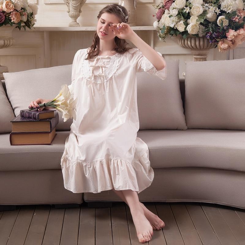 Vintage Night wear Women Gowns Sleepwear Princess Nightgown Summer ...