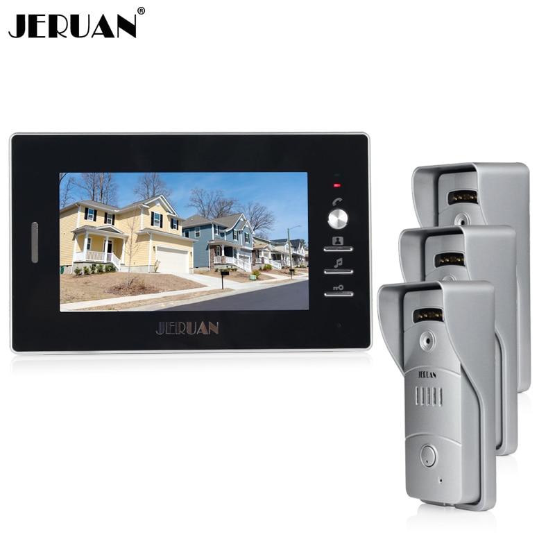 JERUAN Home 7`` TFT video door phone intercom system 1 black monitor + waterproof metal pinhole Cameras open the door In Stock