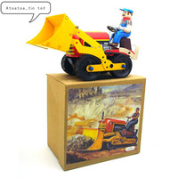 Vintage bulldozer car Collection Tin toys Classic Clockwork Wind Up bulldozer Tin Toys For Adult Kids Collectible Gift
