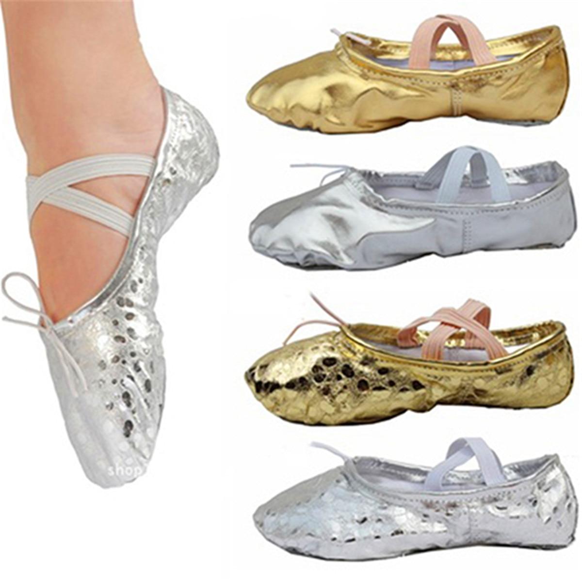 Delle Donne di modo Delle Ragazze di Età Pointe Ginnastica Paillettes Faux Scarpe di Cuoio di Balletto Molle Sveglio di Arte Palestra Accessori