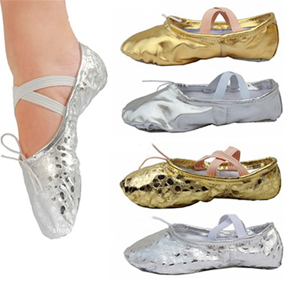 Fashion Women Girls  Adult Pointe Gymnastics Sequins Faux Leather Ballet Shoes Cute Soft Art Gym Accessories