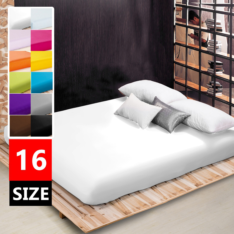Plain Fitted sheet twin full queen king size,1 piece <font><b>bed</b></font> sheet bedsheet mattress cover protective case <font><b>bed</b></font> linen bedding