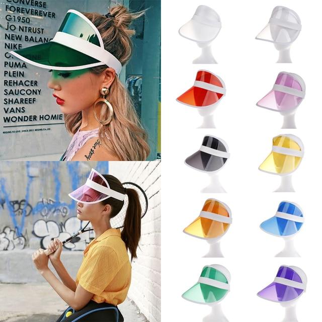 Hirigin 2019 Summer PVC Hat Sun Visor Party Casual Hat Clear Plastic Adult Sunscreen Cap Outdoor Sports Hats Women Ladies