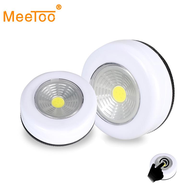 COB LED Cordless Stick Tap Wardrobe Touch Light Lamp 3W Battery Powered Kitchen Cabinet Closet Push Tap Home Stick On Lamp Blub