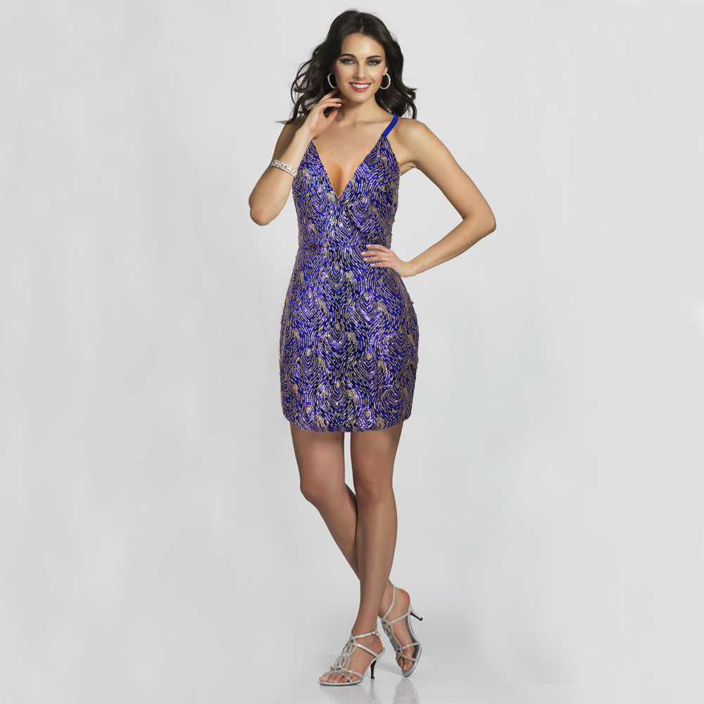 Sequined Sexy Deep V Dress Women Spaghetti Strap Nightclub Party Dress Leaves Fringed with Reflection Elegant Mini Summer Dress