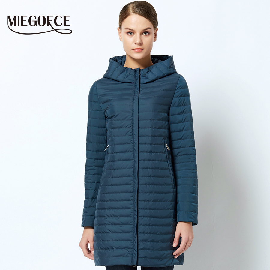 Warm Spring Women jacket With Hood Stylish Windproof Women's Parka Coat New Collection Of Designer Thin Cotton Jackets MIEGOFCE