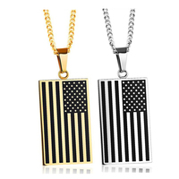 US Flag Necklaces Pendants Gold Plated Stainless Steel USA American Chain For Men Women Gift NIBA