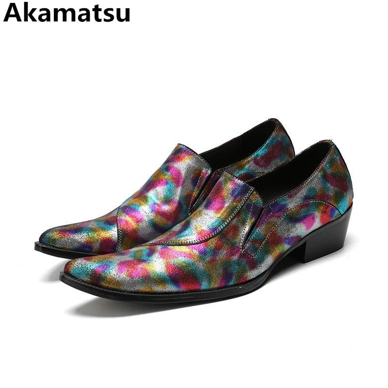 цена на 2018 Chaussure homme mens shoes genuine leather classic elegant men suit shoes mixed color slip on loafers plus size shoe last