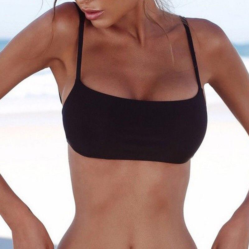 Women's Soild Color Tops New Sexy Push Up Padded Bra Bikini Ladies' Summer Backless Beach Bandage Bikini Tops Wear Hot Sale