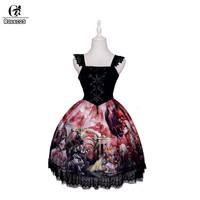 ROLECOS Dragon&Knight Cat Printing Gothic Lolita Dress For Women Vintage Cat Fairy Tale Strap Dress Classical Suspender Skirt