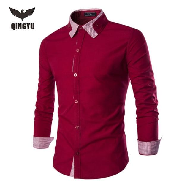 2016 de Alta Calidad Los Hombres de Marca de Manga Larga Camisas de Vestir de Negocios Sólido Da Vuelta-Abajo Personalizada rojo Formal Tuxedo Shirts