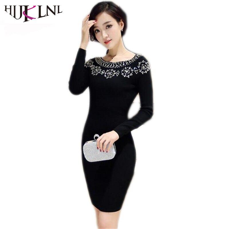 HIJKLNL 2017 Autumn Winter Women Long Sleeve Dress Fashion Beading Knitted Sweater Dress Vestido robe femme