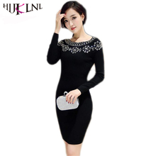 HIJKLNL 2017 Autumn Winter Women Long Sleeve Dress Fashion Beading Knitted Sweater Dress Vestido robe femme grande taille JX162